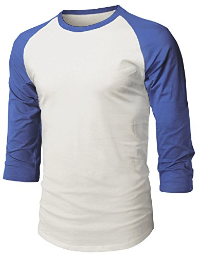 Hat and Beyond Mens Baseball Raglan 3/4 Sleeve T Shirts 1HCA0008 (Large, 1hc08_Vint White/Royal) (Navy Raglan Baseball Tee)