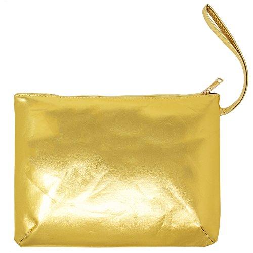 Me Plus Women's Clutch Pouch Wristlet Purse Bag Zipper Closure (2 Patterns) (Metallic Gold)