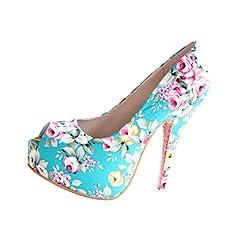 a737c227dde Women s Retro Floral Printing Stiletto Heels Peep Toe Sandals .