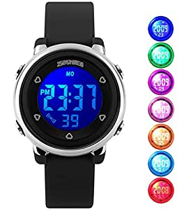 Niños uswat® Reloj Digital Outdoor Sports Watches Boy Kids Girls LED Alarma Cronómetro Vestido de control remoto Negro: Amazon.es: Relojes