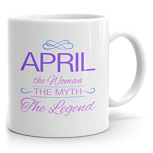 April Coffee Mugs - The Woman The Myth The Legend - Best Gifts for Women - 11oz White Mug - Purple
