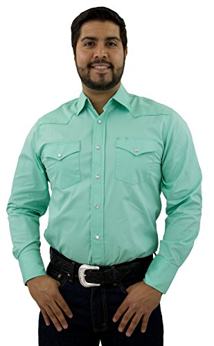 STARR Men's Western Solid Color Long Sleeve Snap Shirt by 100% Cotton | Two Snap Pockets | Front and Back Yokes | Trim Fit SWWLSS-Mint-Size-XL (Yoke Trim)