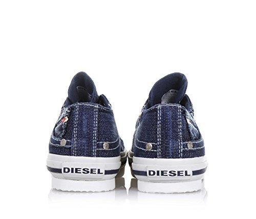 DIESEL - Blauer Schuh mit Schnürsenkeln, aus Jeans, seitlich ein Logo, weiße Schnürsenkel und Gummisohle, Jungen