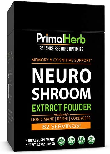 Brain Supplement for Focus, Energy, Memory Clarity Nootropics Stack by Primal Herb Herbal Extract Powder with Lions Mane Mushroom Reishi Spores - 82 Servings - Includes Bamboo Spoon