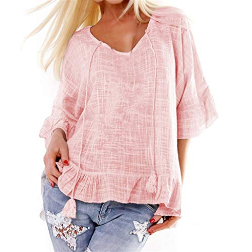 Casual Bamboo Cotton Lotus Leaf Sleeve Blouse for Women,Fashion Loose Plus Size Summer Tunic T Shirts Sunmoot Pink