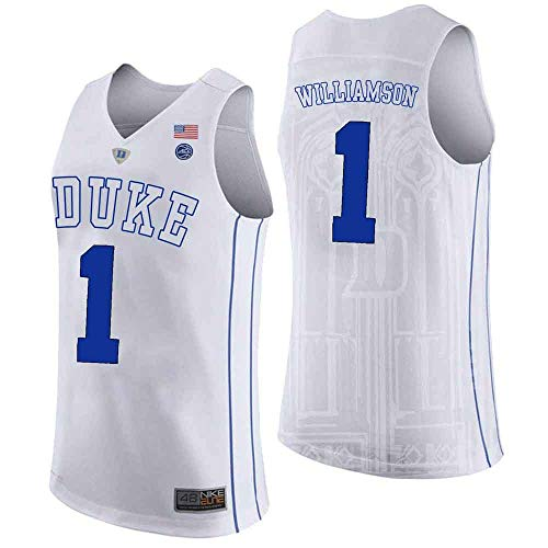 VF LSG Duke Blue Devils Zion Williamson 1# Stitched Men's College Basketball Jersey (White, M)      ()