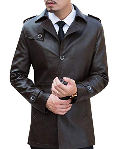 Leather Smooth Coffee Jacket Pu Thigh Length Single Mens Mogogo Breasted Hwzq50W