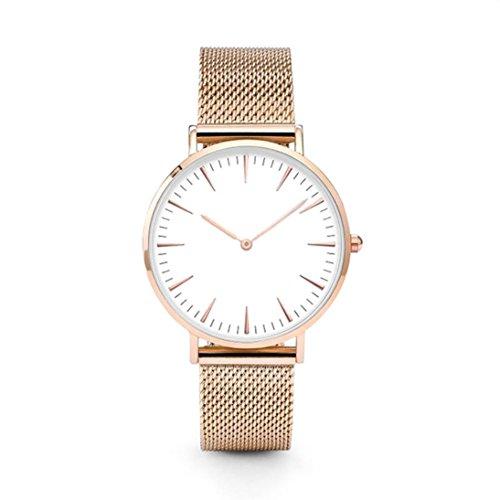 Oliviavan Luxury Women Men Stainless Steel Watch Analog Quartz Bracelet Wrist Watches New lovers' Gift (Rose Gold)