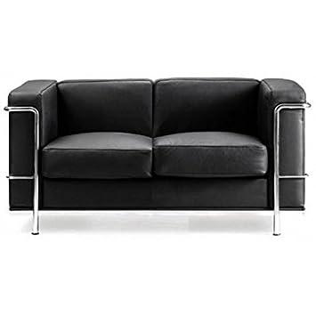 Eliza Tinsley Modernes Leder Doppelseitig 2 Sitzer Sofa Mit Chrom