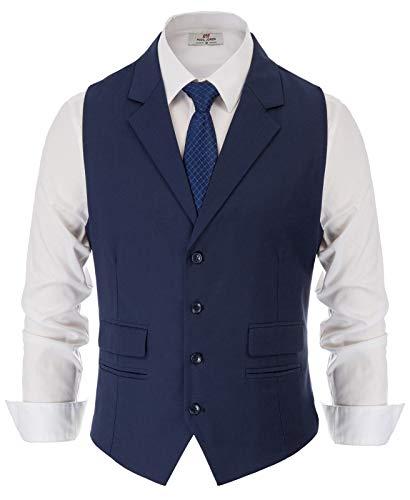 PAUL JONES Men's Slim Fit Business Suit Vest Tailored Collar Casual Vest Waistcoat for Suit or Tuxedo Navy
