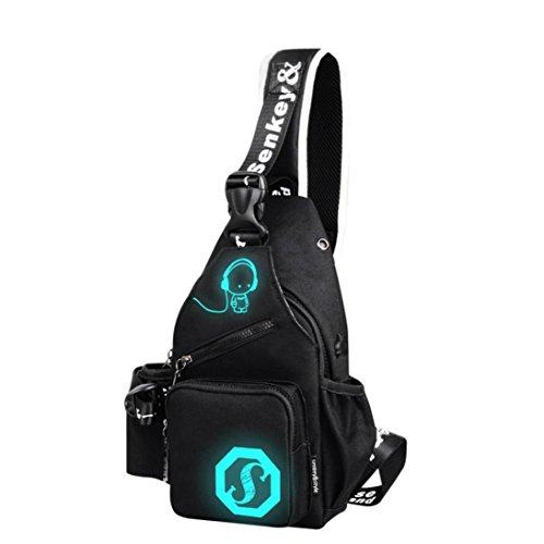 Handbag, Hunzed Unisex Light Preppy Teenagers Noctilucent Shoulder Bag Cartoon Backpack Women Chest Crossbody Crossbody Bag (Black)