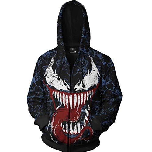 (Gurbanton Venom Hoodie Adult Unisex Hooded Zip Up Sweatshirt 3D Printed Cosplay Costume Black)
