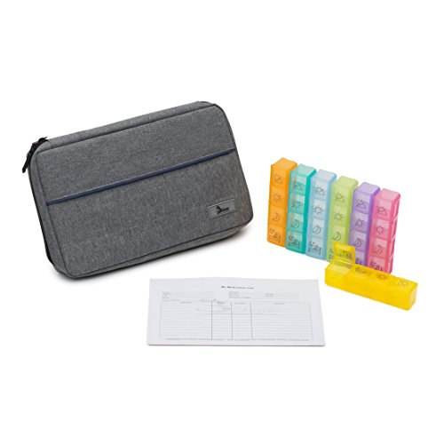 Premium Pill Organizer with Travel Case - 7 Day Weekly, Large 4 Times a Daily Pill Box and Medical Case - Prescription and Medication Holder Travel Wallet with Pockets for - Time Card 7