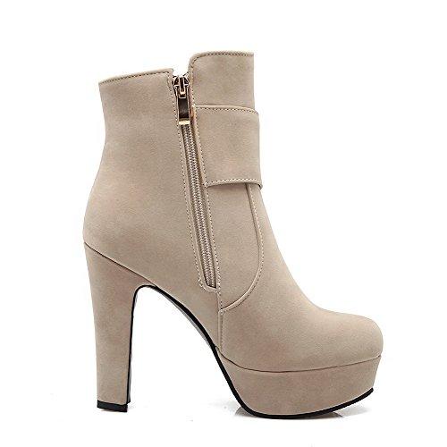 Toe Closed AgooLar Heels Beige Women's Boots Zipper Round High Solid 1xaw7T