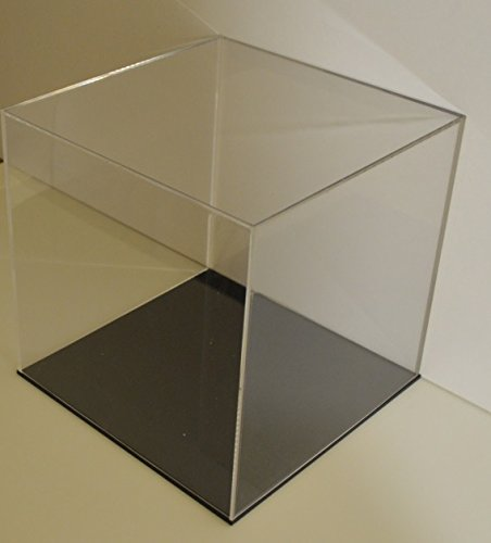 black20x20x20 cm Table Model Display Cube Acrylic Glass Pack Dust Exhibition Large, glass, transparent, black30x30x30 cm