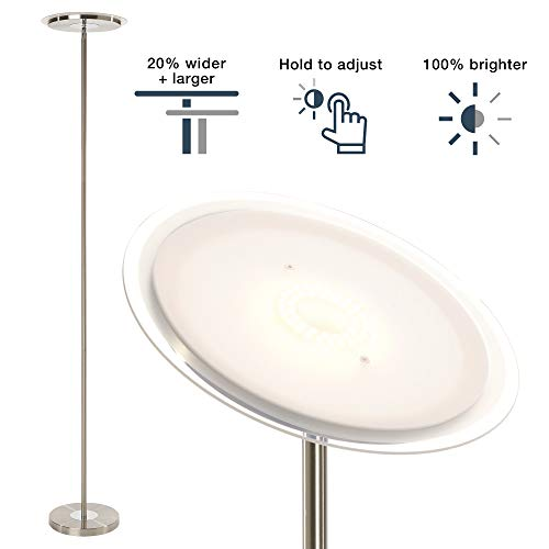 (Dimmable Standing Torchiere Bright LED Floor Lamp for Living Room - Brightest Modern Uplight Floorlamp for Bedroom, Brushed Nickel)