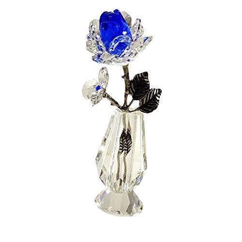 Crystal Blue Milano Rose in Vase by Crystal Florida - Optical Crystal Vase