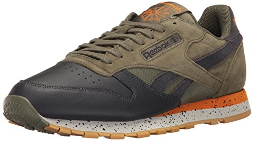 Reebok Men's CL Leather SM Fashion Sneaker, Hunter Green/Lead/Brght Orng/Skgry-Gum, 9.5 M US
