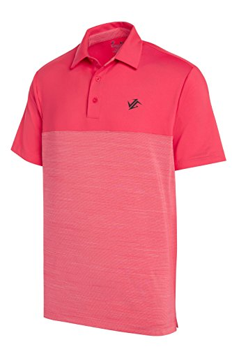 (Three Sixty Six Dri-Fit Golf Shirts for Men - Moisture Wicking Short-Sleeve Polo Shirt Fire Red)