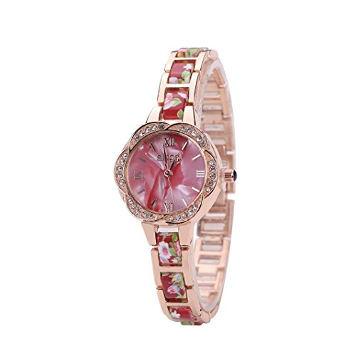 Hunputa Women Shell Flower Shape Floral Full Diamond Bracelet Watch Analog Quartz Wrist Watch (Red)