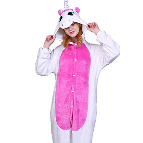 IFLIFE Adult Pajamas Animal Cosplay Costume Onesie Sleepwear (S(Fit Height 150-158cm), Rose Unicorn)