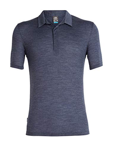 Icebreaker Merino Men's Solace Short Sleeve Polo, Midnight Navy HTHR, Large (Icebreaker Wool Shirt)
