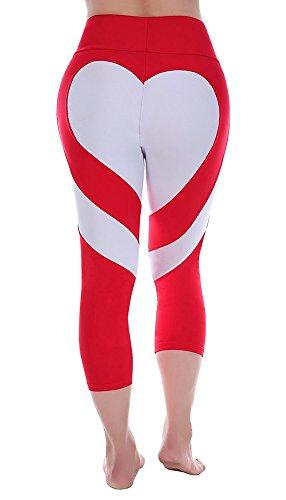 Pxmoda Women's Heart Shape Yoga Pants Casual Fitness Leggings,Red-white Heart,Large