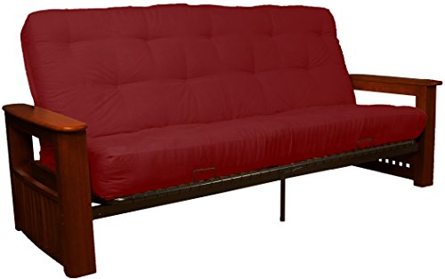 Chicago Storage Arm Style True 8-inch Loft Cotton/Foam Futon Sofa Sleeper Bed, Queen-size, Mahogany Arm Finish, Microfiber Suede Cardinal Red Upholstery ()