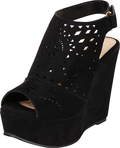 Cambridge Select Women's Peep Toe Laser Cutout Slingback Chunky Platform Wedge Sandal,9 B(M) US,Black IMSU
