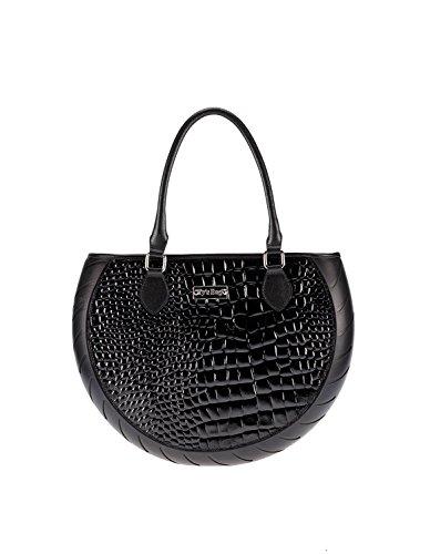 Ty's Bag, Borsa Donna CASTELLANE-007, colore Nero, in Vera Pelle Stampa Cocco, Made in Italy