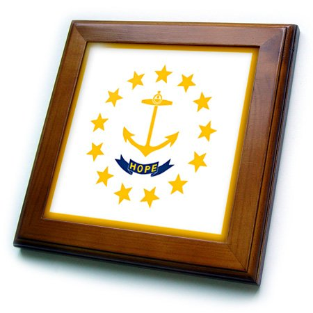 American Flag Tile (3dRose ft_158416_1 Flag of Rhode Island Ri-Us American United State of America Usa-Yellow Anchor Hope on White-Framed Tile Artwork, 8 by 8-Inch)