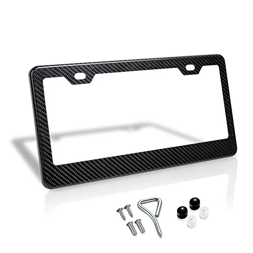 100% Real Carbon Fiber License Plate Frame 2 Holes Black Licenses Plates Frames,Car Licence Plate Covers Holders Slim Design with Chrome Screw Caps Tool Kit for US, Canda and Mexico Vehicles(1PCS)