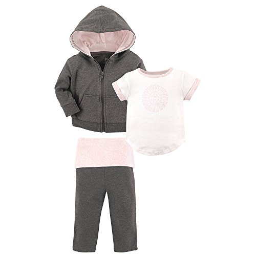 Yoga Sprout Baby 3 Piece Jacket, Top and Pant Set, Scroll Toddler, 4 (Set Outfit Jacket)