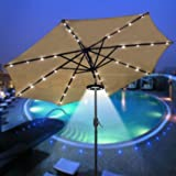 LEESONS 24 LED 12000 Lux Cordless Clamp Light Lamp For 8 9 10 13' Outdoor Patio Umbrella