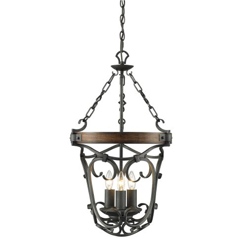 Weathered Iron Finish Pendants - Golden Lighting 1821-3P BI Chandelier with Metal Candle Sleeves Shades, Black Iron Finish