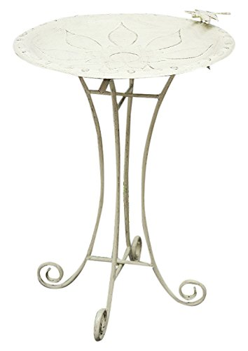 Innova Hearth and Home S885-60A Vintage Floral Birdbath, Vintage White