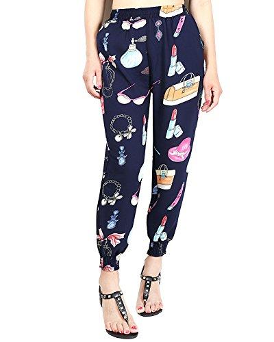 las Mujer Casual Estampados Bohemio Hippie Baggy Pantalones Harem con Cintura Elástica 13