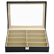 Black Leather Box 8 Slots For Eyeglass Sunglass Glasses Display Case Storage Organizer Collector