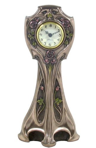 11.5 Inch Art Nouveau Wall Clock Pewter Look Rose and Stem Themed