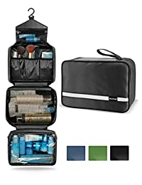 Maxchange Travel Toiletry Bag with 6.8L Large Capacity, Hanging toiletry bag with 4 Compartments for travel, Compressible Hangable and Portable Waterproof Dopp Kit for Men and Women, Travel Bathroom Organizer (Black)