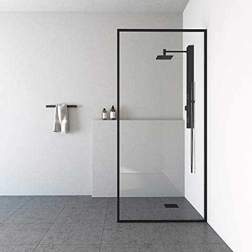 """VIGO Meridian 34-Inch Width, 74-inch Height, 3/8"""" (10mm) Clear Tempered Fixed Glass Shower Screen in Stainless Steel"""