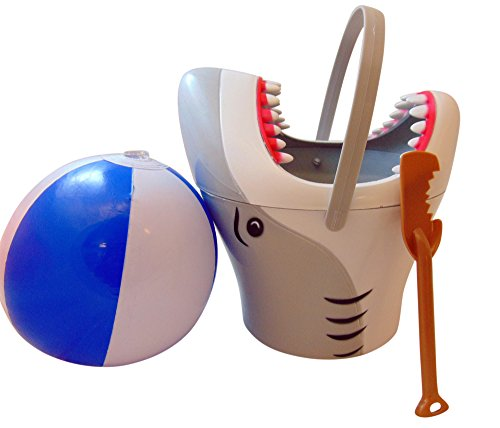 Westman Works Shark Bucket and Shovel Kids Play Set with Inflatable Beach Ball Toy Pack