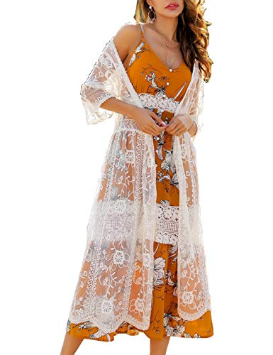 Womens Sexy V Neck White Lace Crochet Kimono Embroidery Sheer Longline Cover Up Cardigan