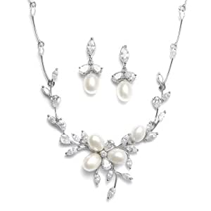Mariell Genuine Freshwater Pearl & CZ Marquis Necklace Earrings Set - Best-Selling Luxury Bridal Jewelry