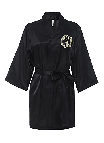 Classy Bride Monogrammed Satin Robe (S/M (2-10))