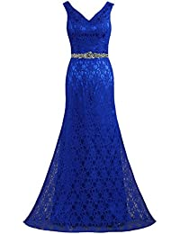 Womens V Neck Sleeveless Long Lace Evening Dresses Gown
