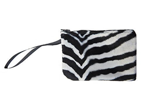 US HANDMADE FASHION Electronic Device Clutch Purse, Wristband Makeup Bag, Cosmetic Bag With ZEBRA ANIMAL PRINT PATTERN , NEW, SCB 3013