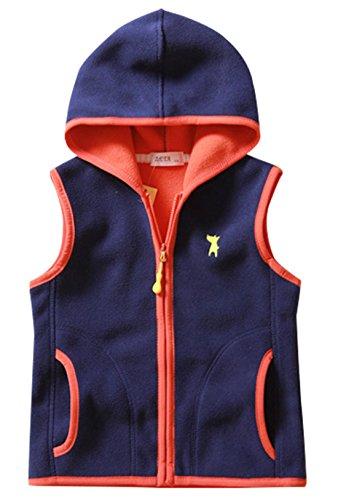 Boys Sleeveless Coat Super Warm Polar Fleece Vest Cartoon Dog Slant Pockets Waistcoat 7-8T Navy