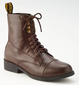 Vintage Style Children's Clothing: Girls, Boys, Baby, Toddler Saxon Girls Equileather Lace Boots Brown Child Size 10 $39.60 AT vintagedancer.com