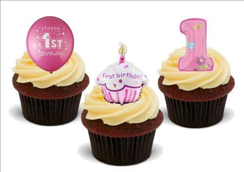 1 Geburtstag Mädchen Trio Mix 12 Essbare Hochwertige Stehende